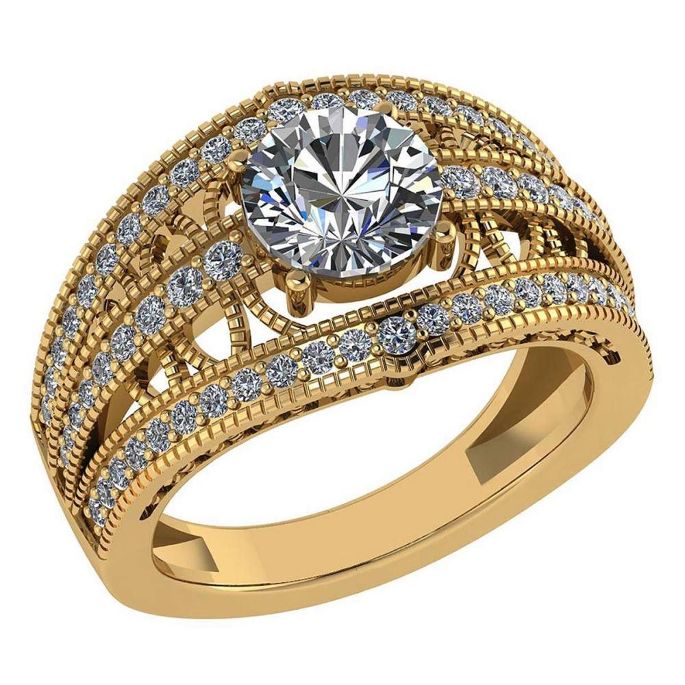 Certified 1.78 Ctw Diamond Wedding/Engagement 14K Yellow Gold Halo Ring #1AC16951