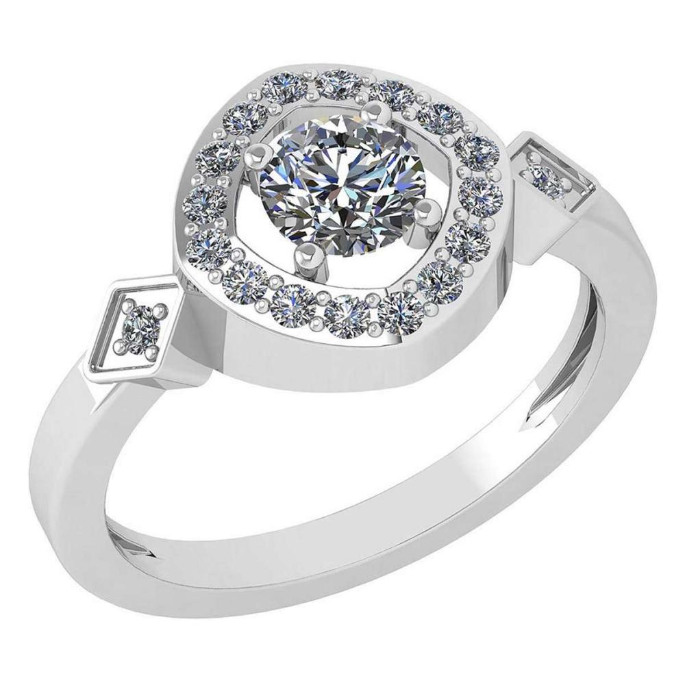 Certified 0.59 Ctw Diamond 14K White Gold Promise Ring #1AC17028