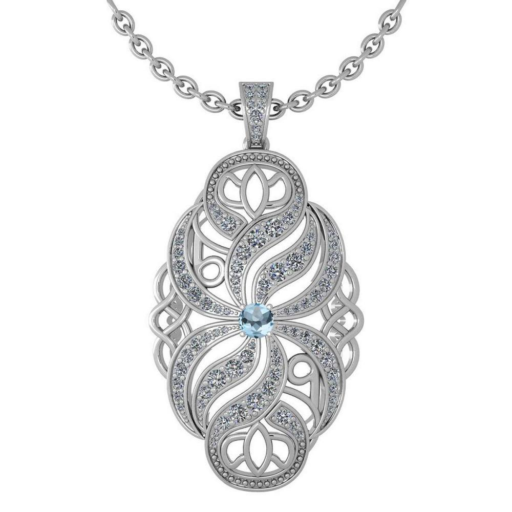 Certified 1.37 Ctw Aquamarine And Diamond Necklace For Styles Females 14k White Gold (VS/SI1) #1AC17772