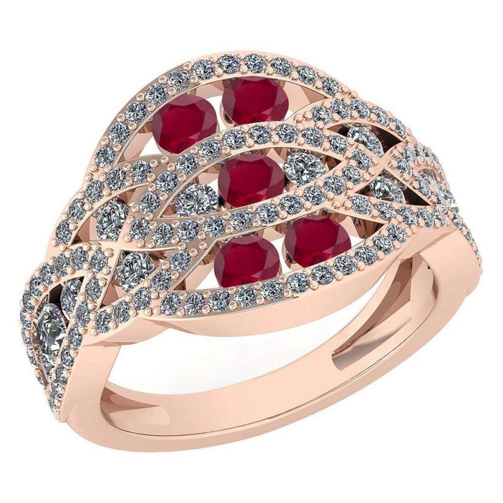 Certified 1.61 Ctw Ruby And Diamond Wedding/Engagement Style 14K Rose Gold Halo Ring (VS/SI1) #1AC19370
