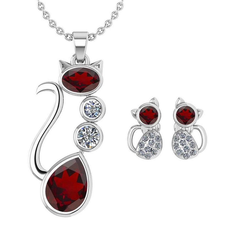 Certified 2.37 Ctw Garnet And Diamond Cat Necklace + Earrings Jewelry Set For Styles Female 14K White Gold #1AC17705