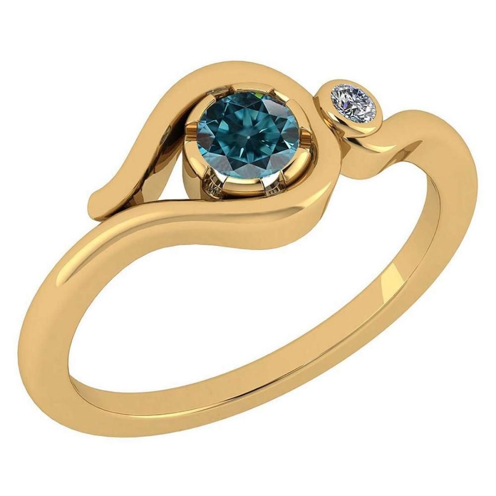 Certified 0.28 Ctw Treated Fancy Blue Diamond VS/SI1 And White Diamond VS/SI1 14K Yellow Gold Solitaire Ring #1AC20220