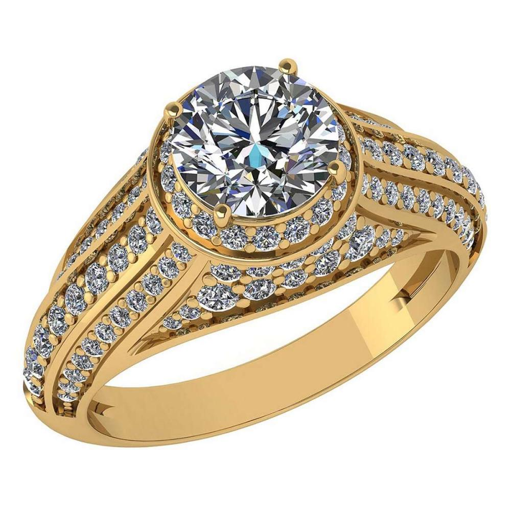 Certified 2.04 Ctw Diamond Engagement /Wedding 14K Yellow Gold Promise Ring #1AC17086
