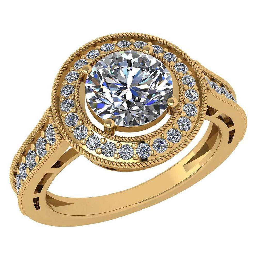 Certified 1.74 Ctw Diamond Engagement /Wedding 14K Yellow Gold Promise Ring #1AC17041