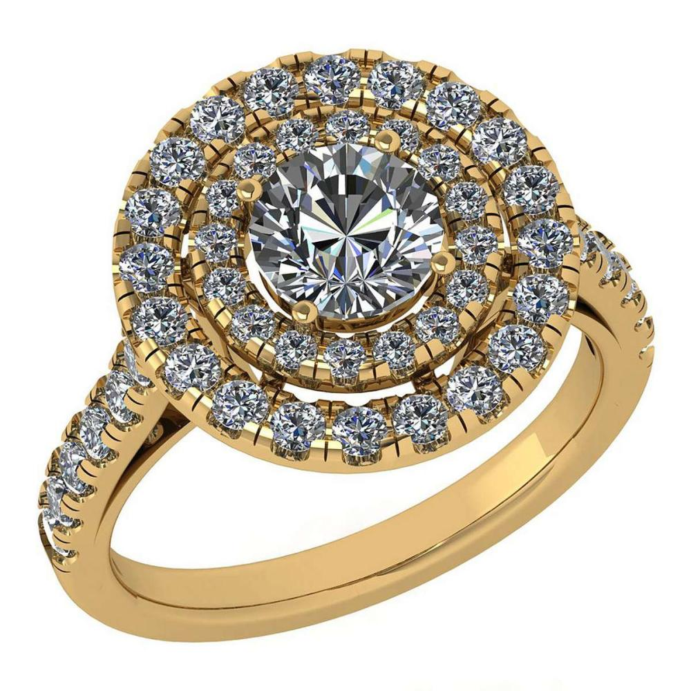 Certified 1.99 Ctw Diamond Wedding/Engagement Style 14K Yellow Gold Halo Ring (SI2/I1) #1AC17888