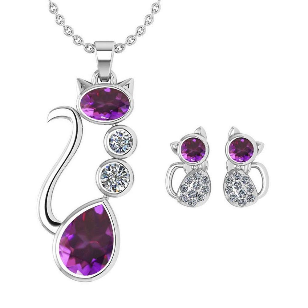 Certified 2.37 Ctw Amethyst And Diamond Cat Necklace + Earrings Jewelry Set For Styles Female 14K White Gold #1AC17703