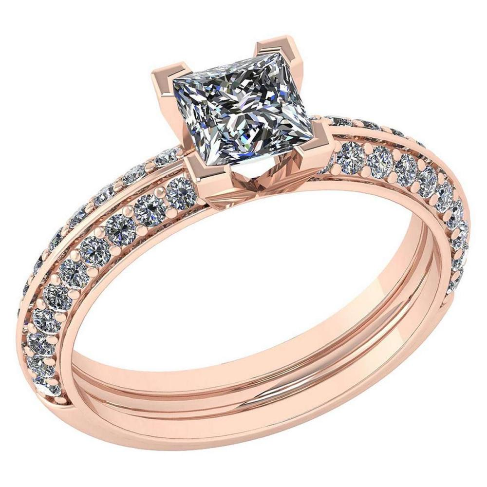 Lot 1111099: Certified 0.74 Ctw Diamond Wedding/Engagement Style 14k Rose Gold Halo Ring (SI2/I1) #1AC19309