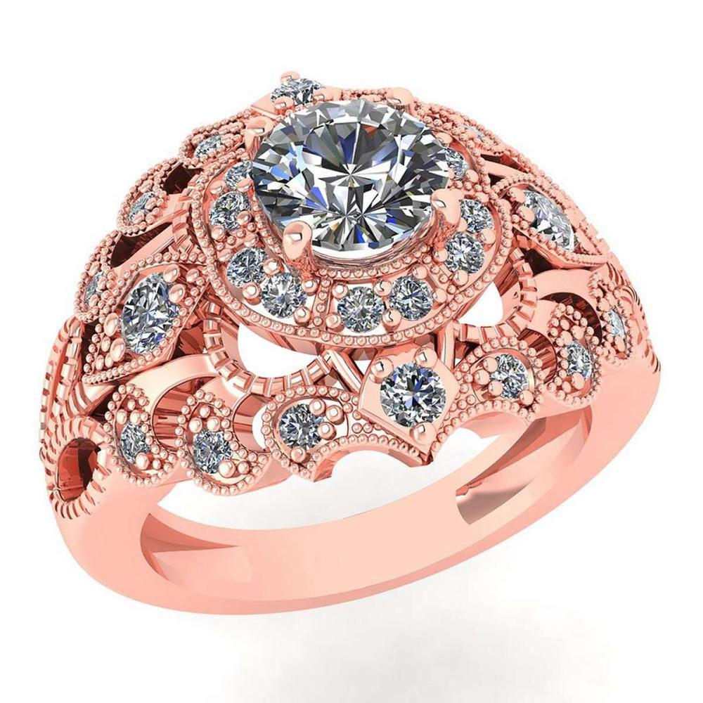 Lot 1111100: Certified 1.10 Ctw Diamond Wedding/Engagement 14K Rose Gold Halo Ring #1AC16976