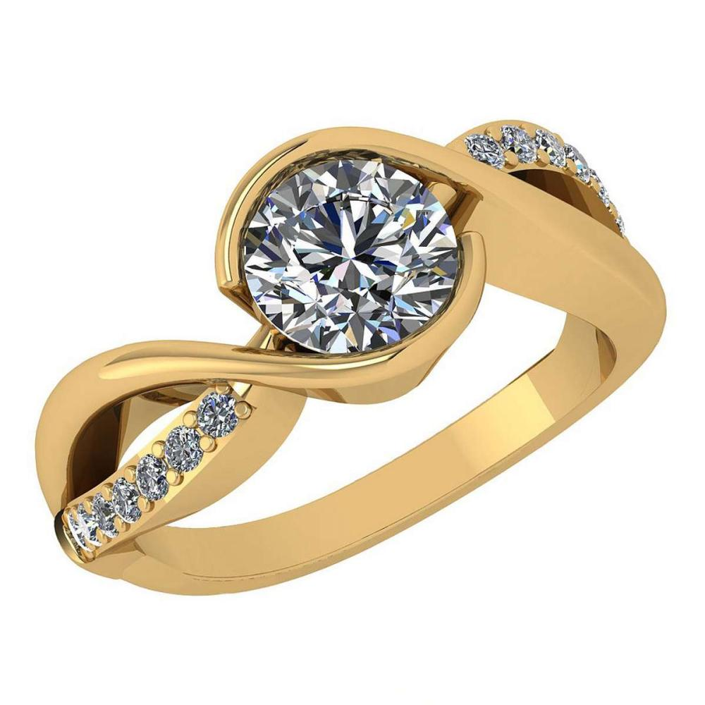 Certified 1.46 Ctw Diamond Wedding/Engagement Style 14K Yellow Gold Halo Ring (SI2/I1) #1AC17903