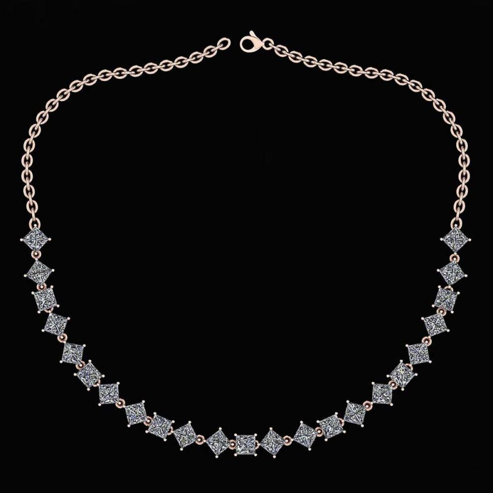 Lot 1111102: Certified 18.75 Ctw Diamond Necklace For Ladies 14K Rose Gold (SI2/I1) #1AC19327