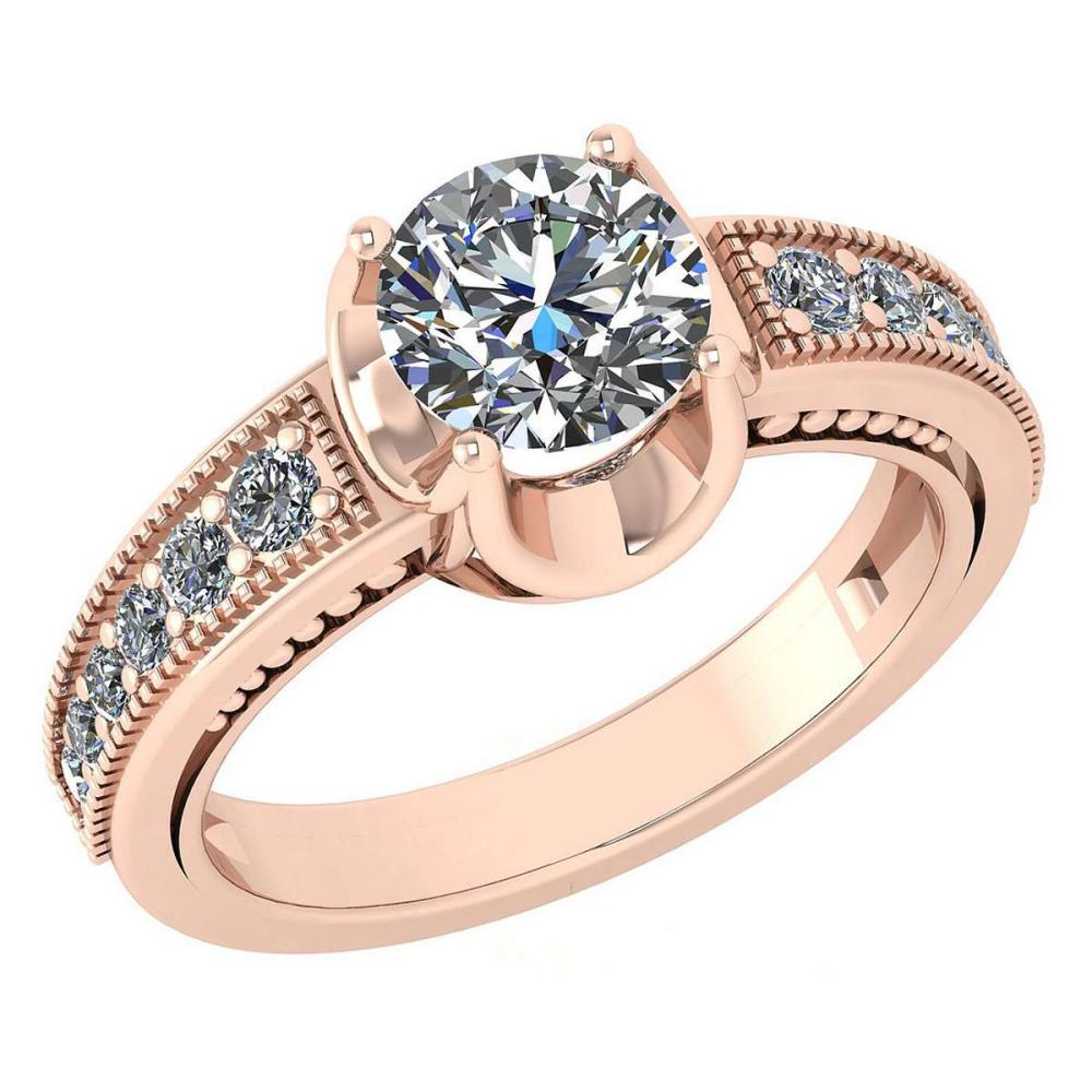 Lot 1111104: Certified 1.48 Ctw Diamond Wedding/Engagement Style 14K Rose Gold Halo Ring (SI2/I1) #1AC17873