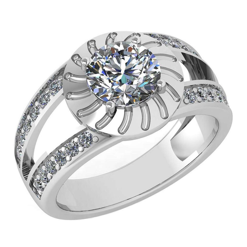 Certified 1.58 Ctw Diamond Wedding/Engagement Style 14K White Gold Halo Ring (SI2/I1) #1AC17883