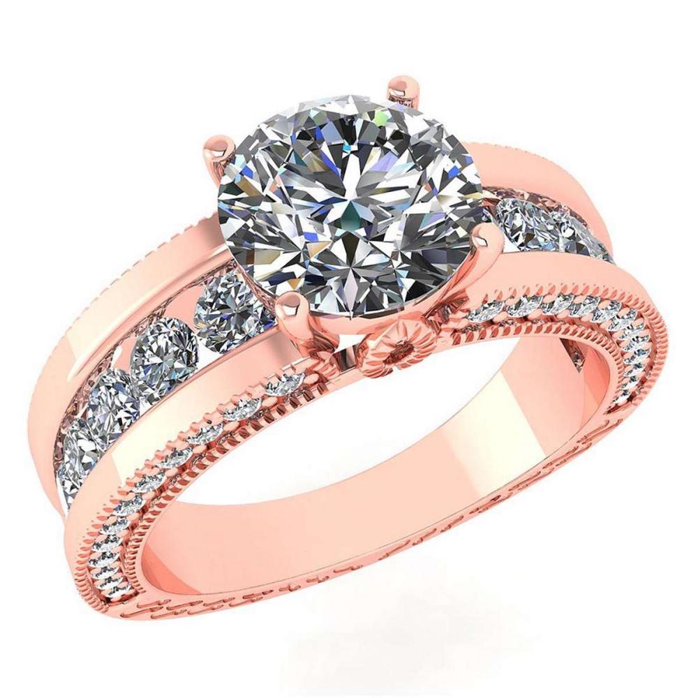 Lot 1111112: Certified 2.23 Ctw Diamond Wedding/Engagement 14K Rose Gold Halo Ring #1AC17009