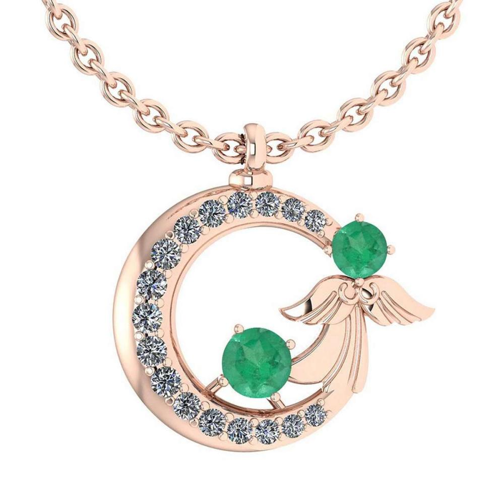Certified 1.14 Ctw Emerald And Diamond Tiny Angel Necklace For womens New Expressions love collection 14K Rose Gold (VS/SI1) #1AC19426