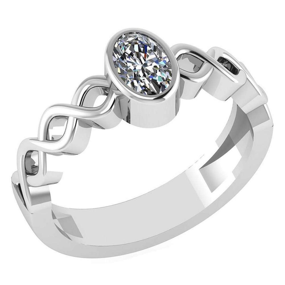 Certified 0.50 Ctw Diamond 14K White Gold Halo Ring #1AC16998