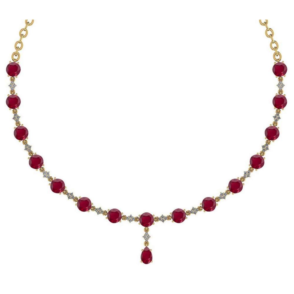 Lot 1111118: Certified 21.10 Ctw Ruby And Diamond Necklace For Ladies 14K Yellow Gold (VS/SI1) #1AC19406