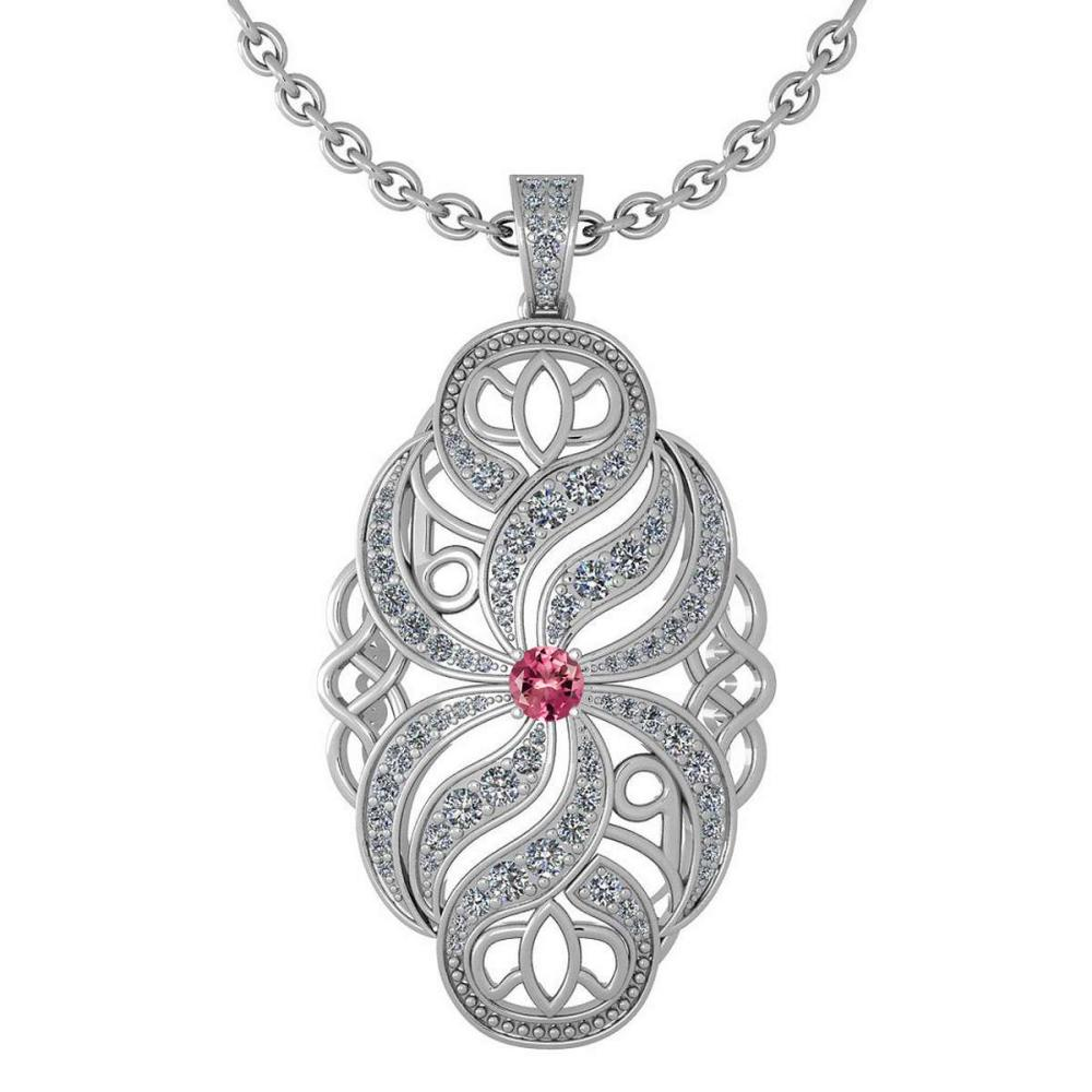 Certified 1.37 Ctw Pink Touramline And Diamond Necklace For Styles Females 14k White Gold (VS/SI1) #1AC17770