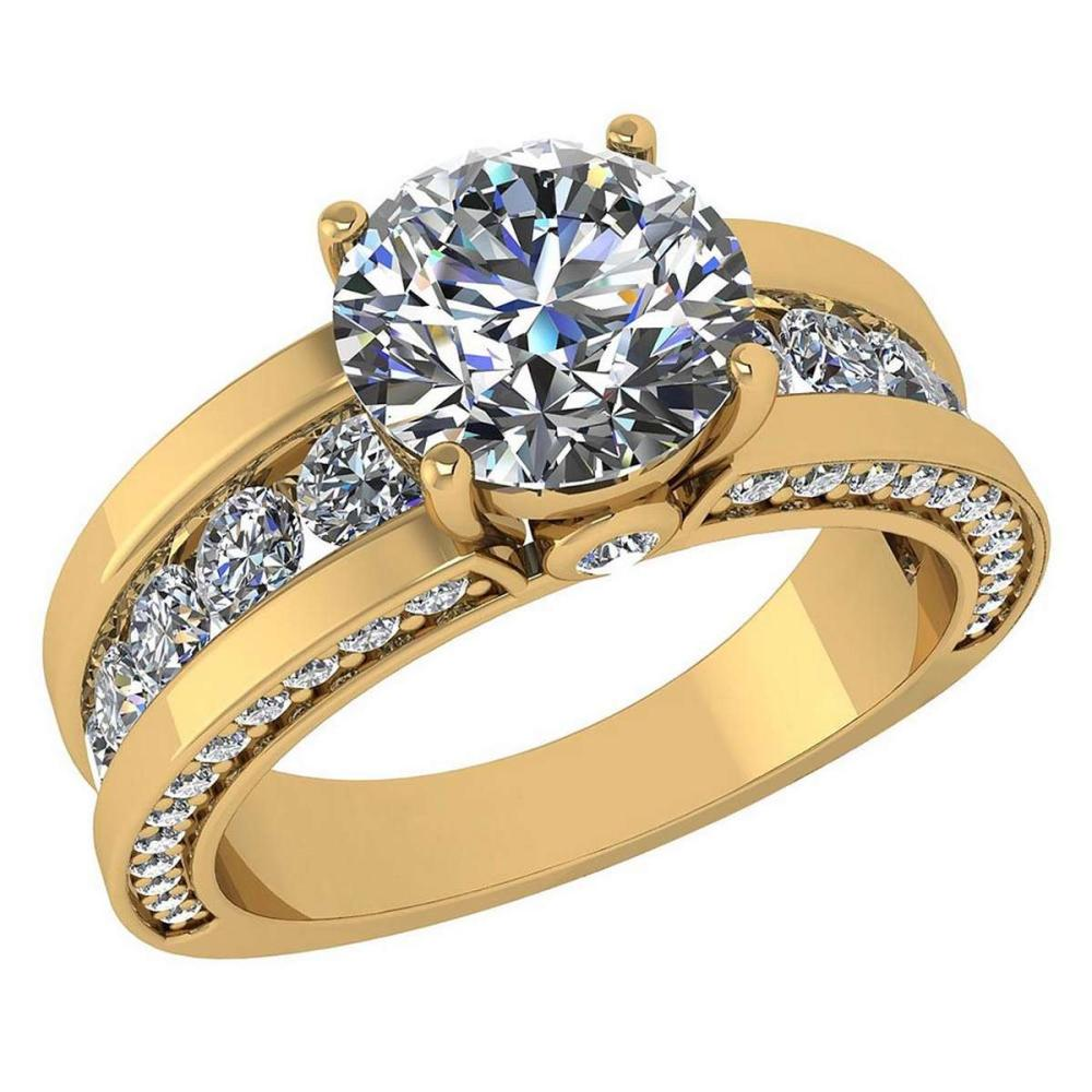 Certified 2.25 Ctw Diamond Wedding/Engagement 14K Yellow Gold Halo Ring #1AC17011