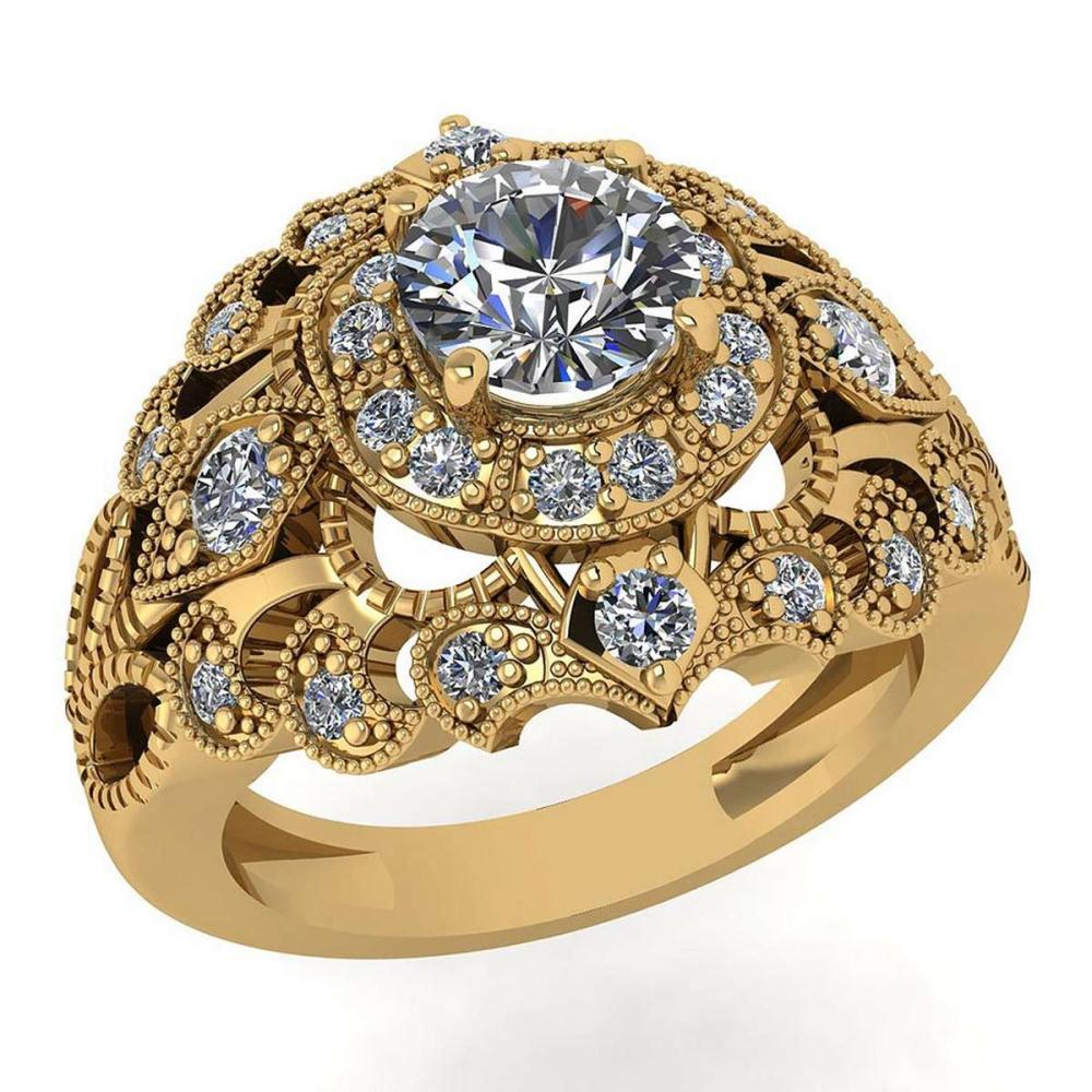 Certified 1.10 Ctw Diamond Wedding/Engagement 14K Yellow Gold Halo Ring #1AC16975