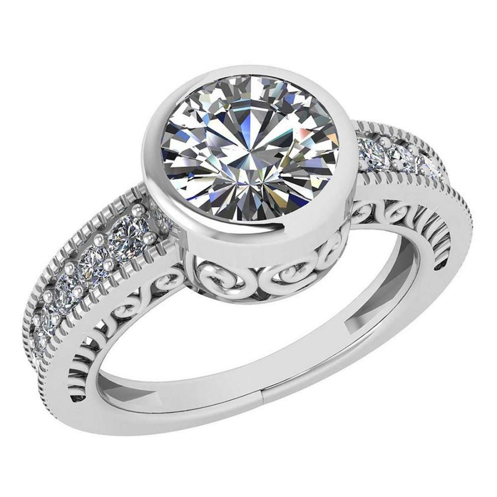 Lot 1111127: Certified 1.55 Ctw Diamond Wedding/Engagement 14K White Gold Halo Ring #1AC16980
