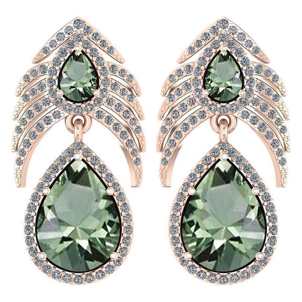 Lot 1111128: Certified 7.38 Ctw Green Amethyst And Diamond VS/SI1 Pear Shape 14K Rose Gold Hangling Stud Earring #1AC20120