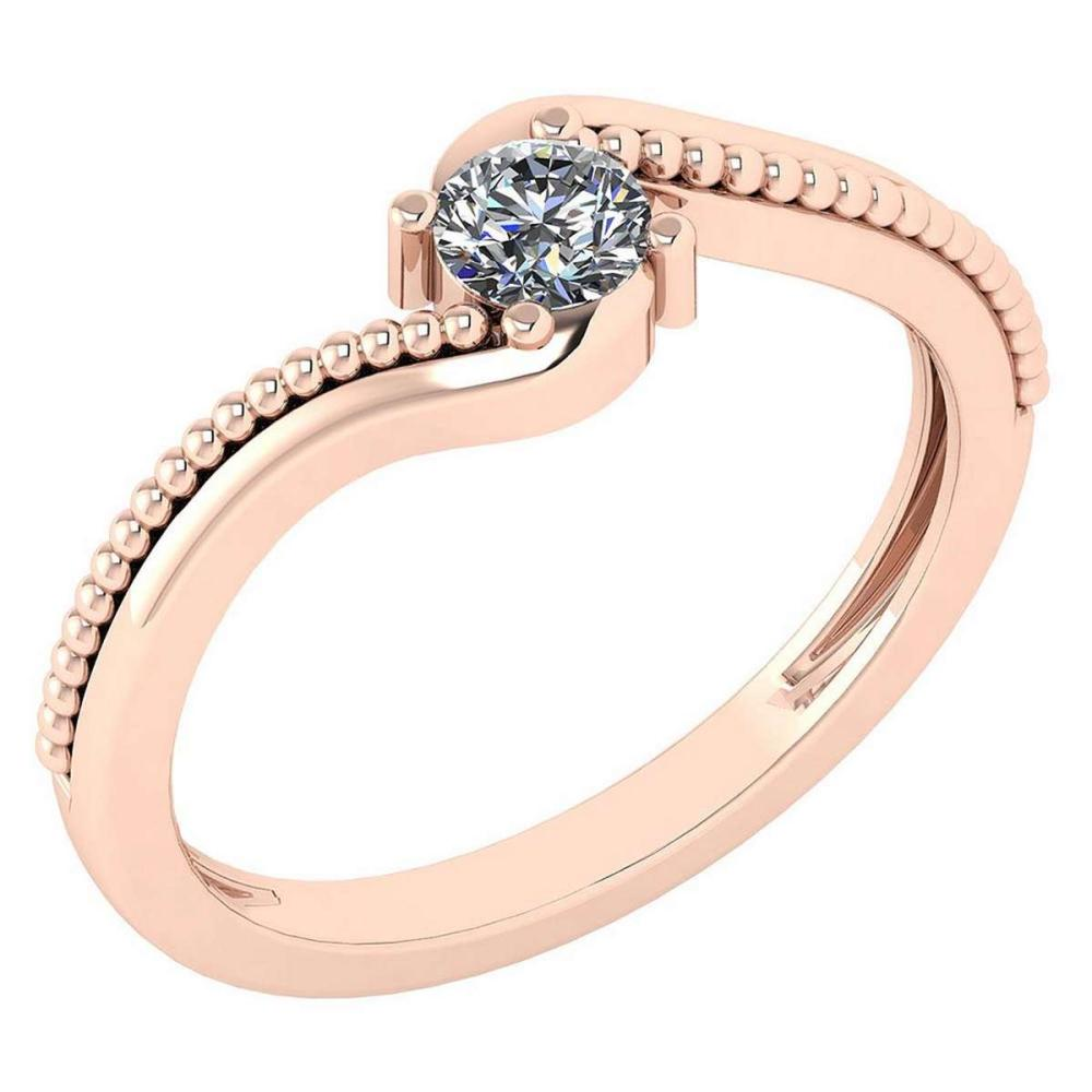 Certified 0.23 Ctw Diamond 14K Rose Gold Promise Ring #1AC17024