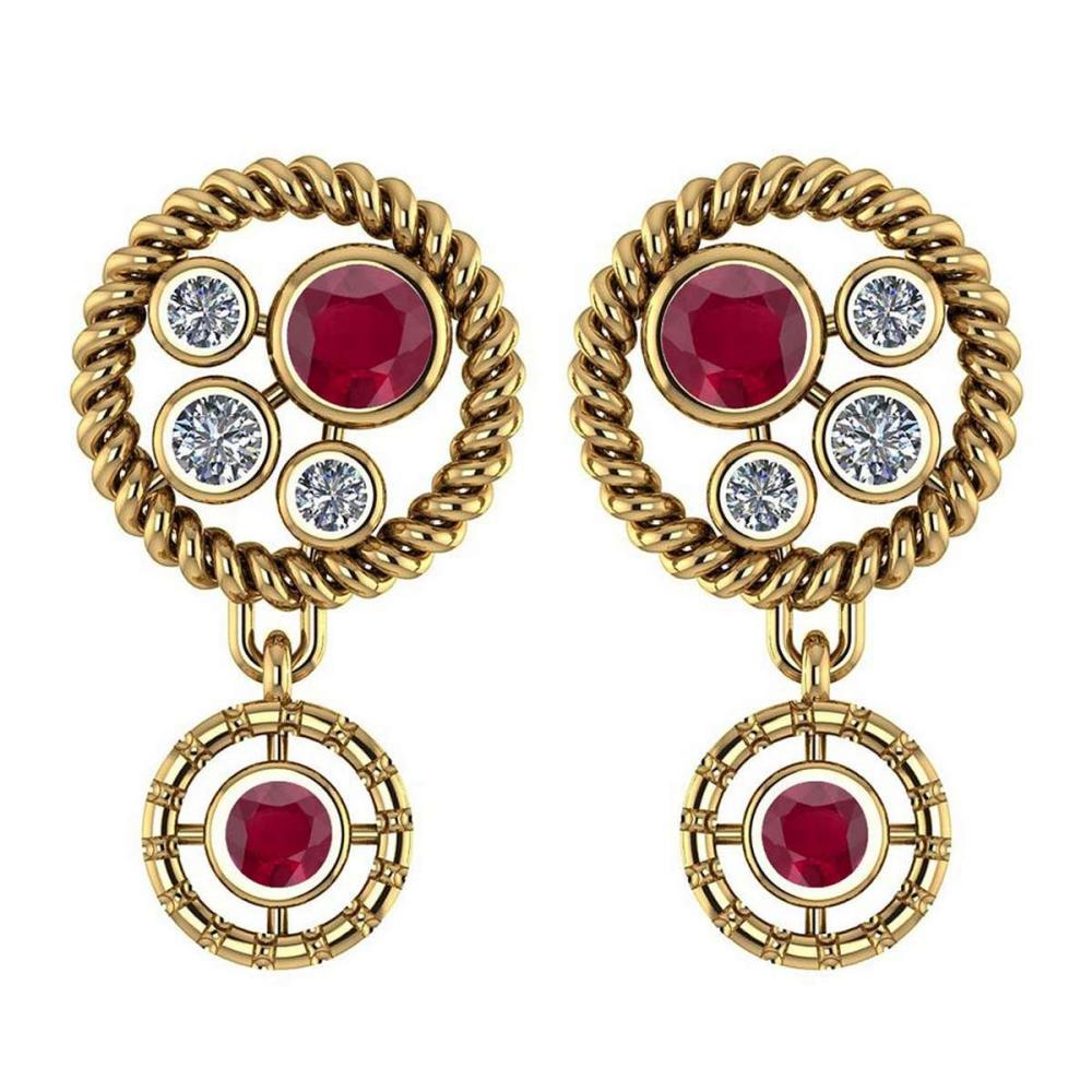 Certified 0.84 Ctw Ruby And Diamond Wedding/Engagement Style Stud Earrings 14K Yellow Gold #1AC17338