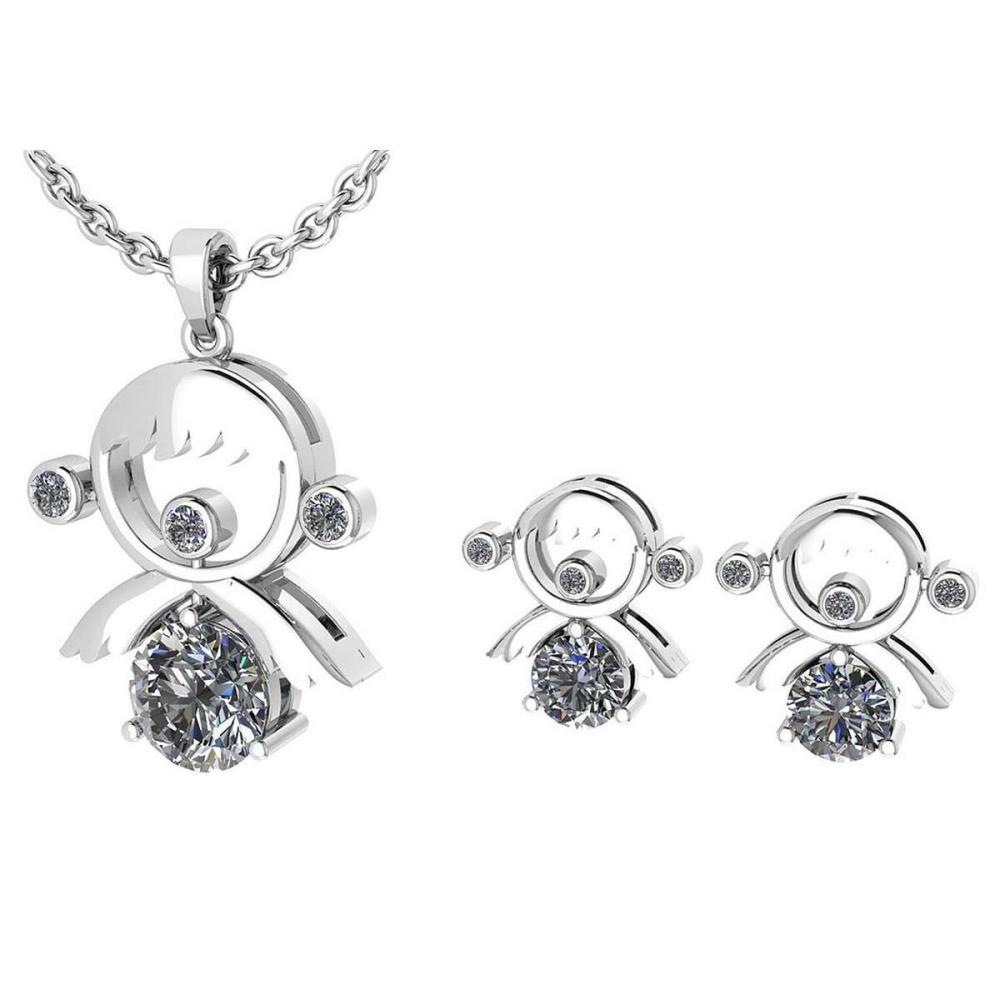 Lot 1111135: Certified 0.93 Ctw Diamond Tiny Angel Necklace + Earrings Jewelry Set New Expressions love collection 14K White Gold (SI2/I1) #1AC19340