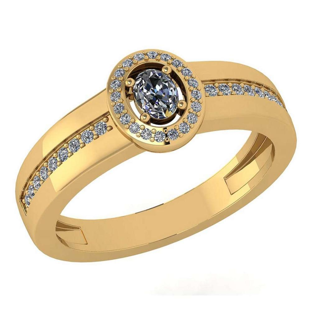 Lot 1111136: Certified 0.35 Ctw Diamond 14K Yellow Gold Halo Ring #1AC16993