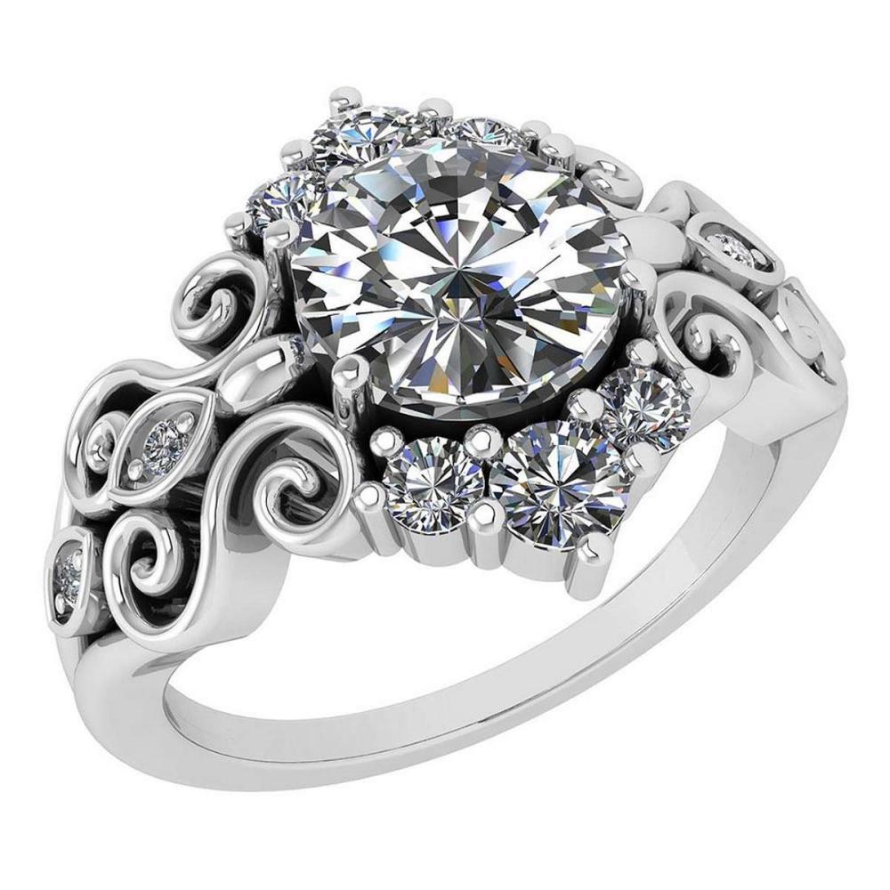 Lot 1111137: Certified 1.65 Ctw Diamond Wedding/Engagement 14K White Gold Halo Ring #1AC16974
