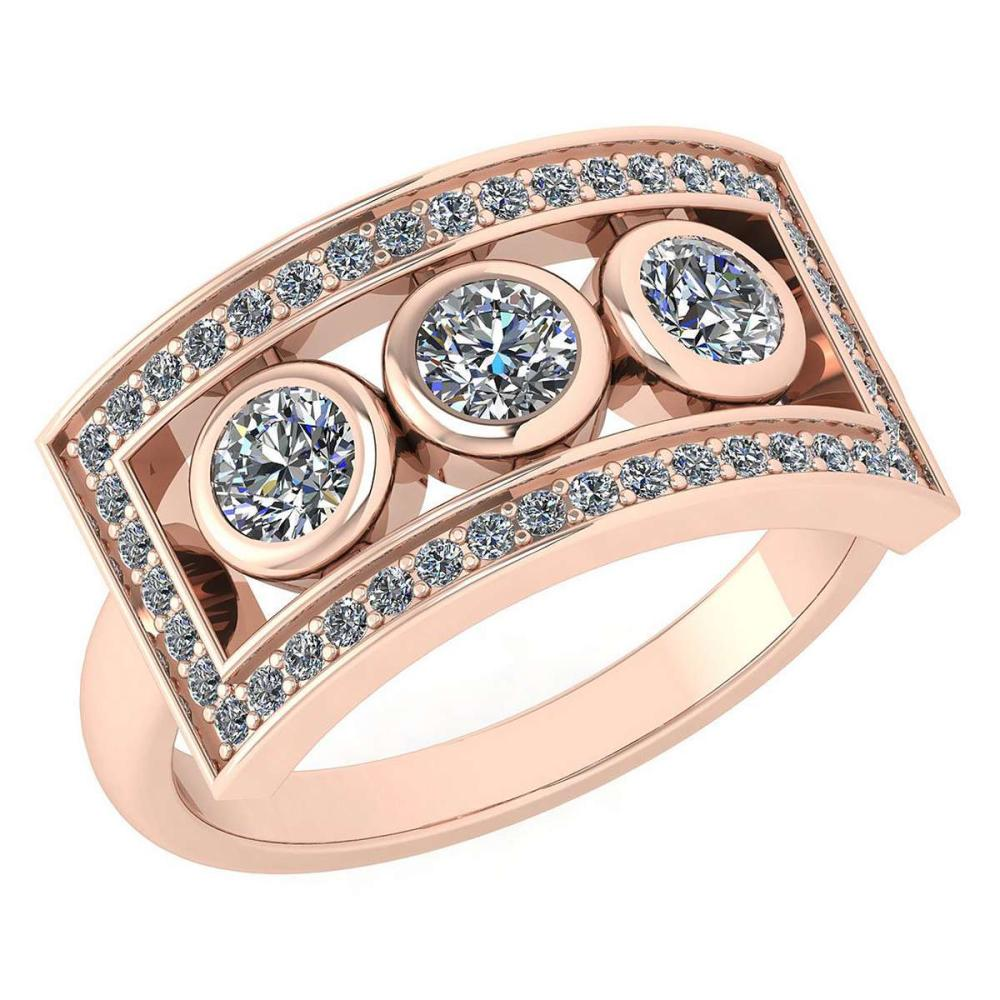 Certified 0.72 Ctw Diamond Wedding/Engagement Style 14K Rose Gold Halo Ring (SI2/I1) #1AC17896