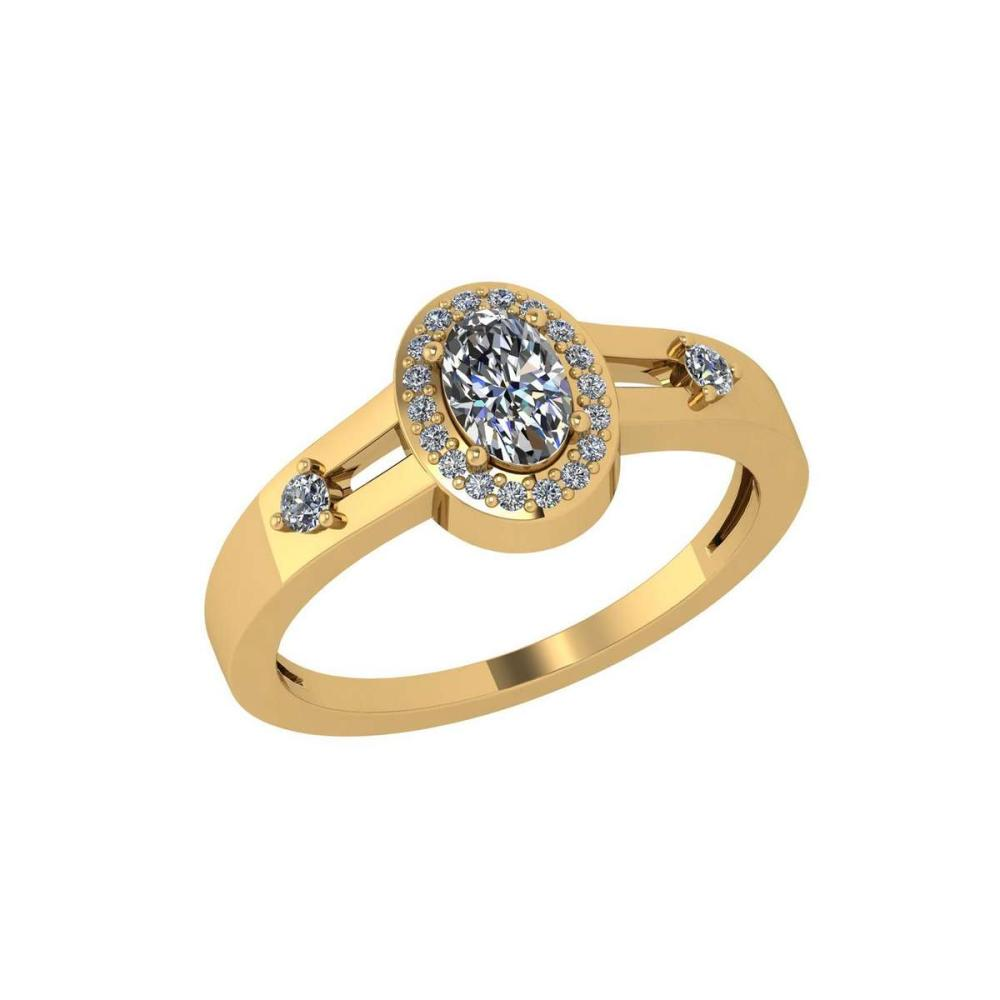 Certified 0.65 Ctw Diamond Engagement /Wedding 14K Yellow Gold Promise Ring #1AC17103