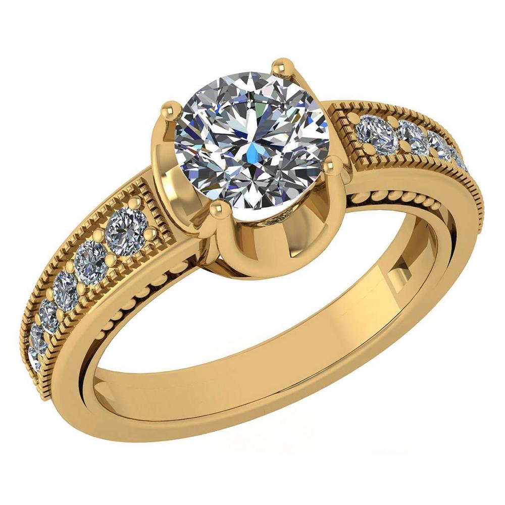 Certified 1.48 Ctw Diamond Wedding/Engagement Style 14K Yellow Gold Halo Ring (SI2/I1) #1AC17872