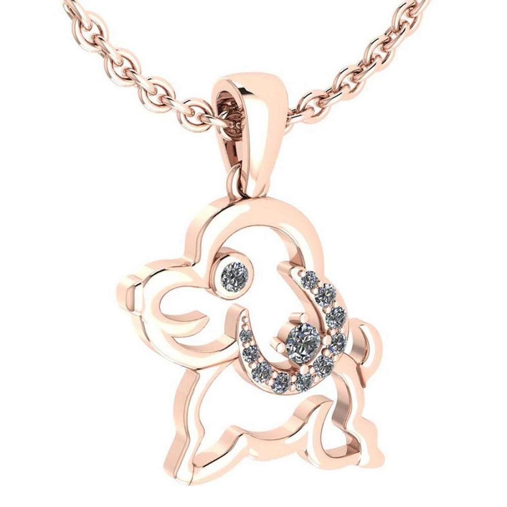 Certified 0.30 Ctw Diamond Chinese Century Year Of Dog Charms Necklace 18K Rose Gold (VS/SI1) #1AC19357