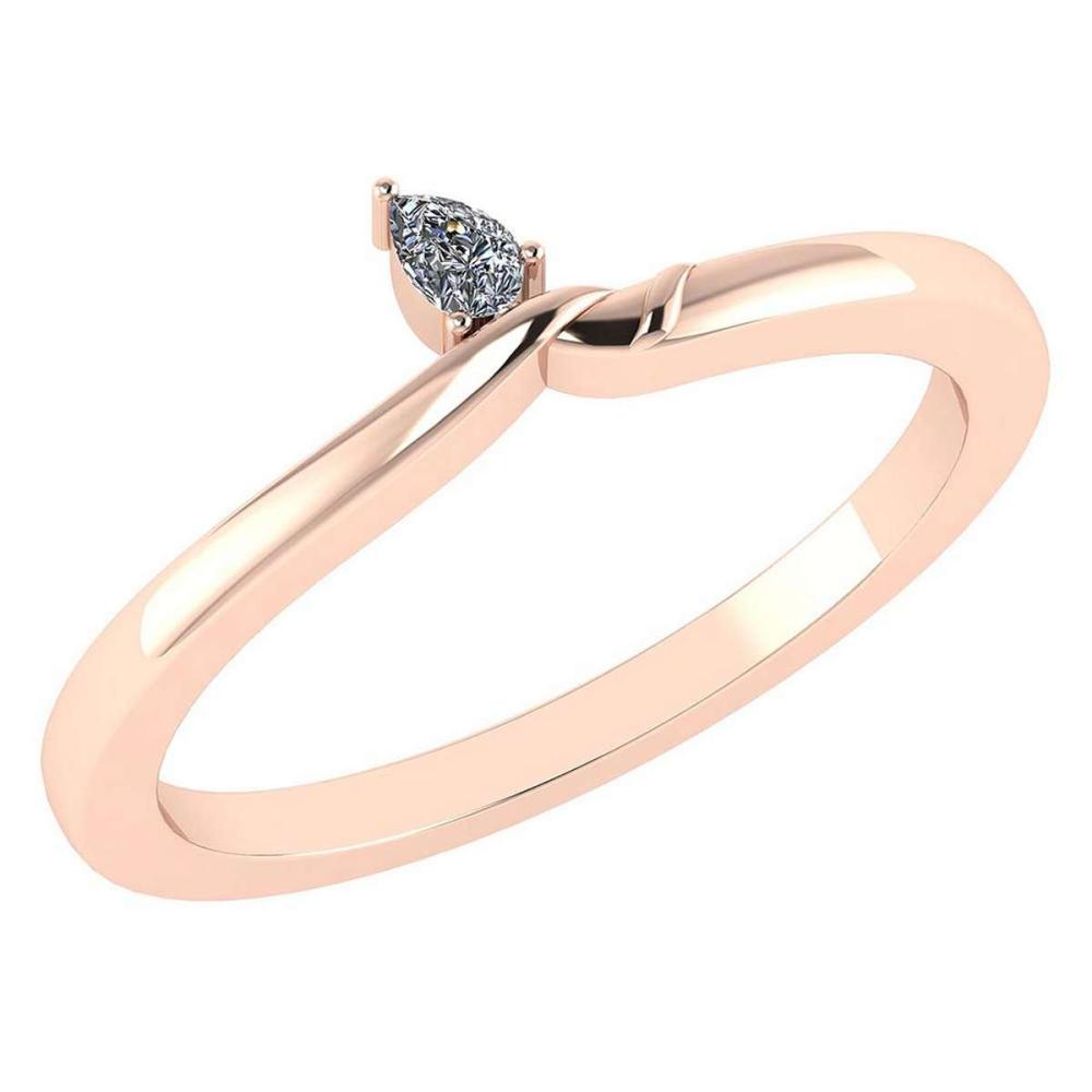 Certified 0.13 Ctw Diamond 14K Rose Gold Promise Ring #1AC17048