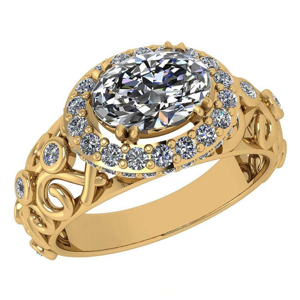 Certified 1.65 Ctw Diamond Wedding/Engagement 14K Yellow Gold Halo Ring #1AC16960
