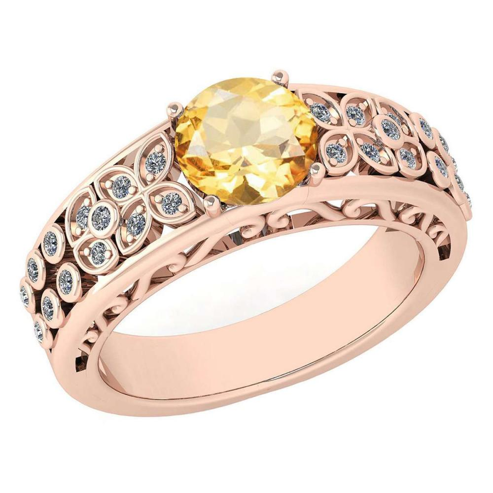 Certified 1.42 Ctw Citrine And Diamond Wedding/Engagement 14K Rose Gold Halo Ring (VS/SI1) #1AC17748
