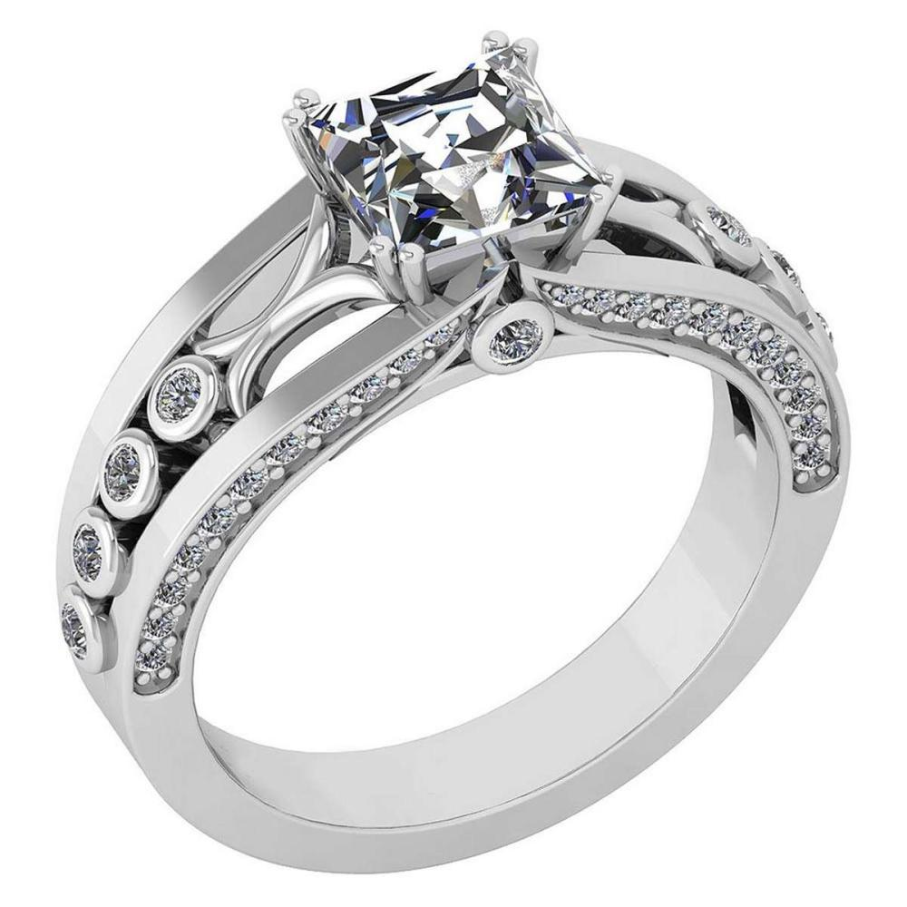 Certified 1.53 Ctw Diamond Wedding/Engagement Style 14k White Gold Halo Ring (SI2/I1) #1AC19311