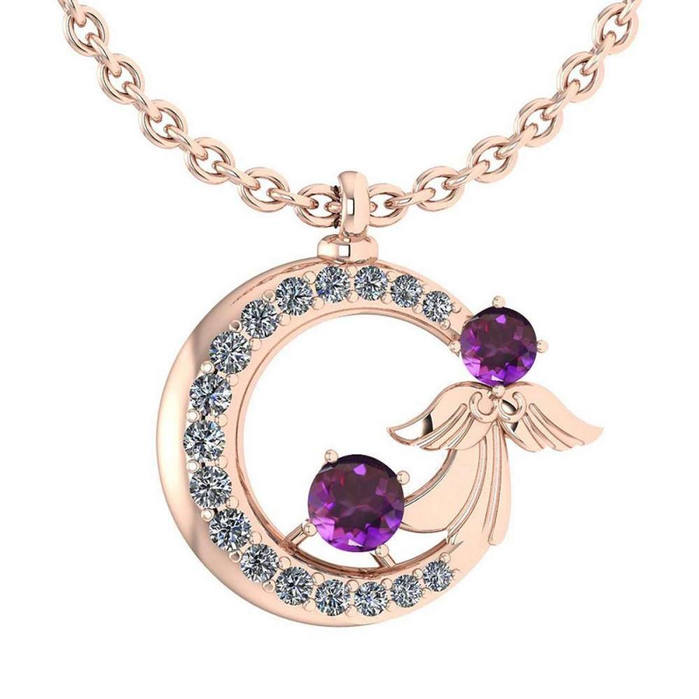 Certified 1.14 Ctw Amethyst And Diamond VS/SI1 Tiny Angel Necklace For womens New Expressions love collection 14K Rose Gold #1AC20166