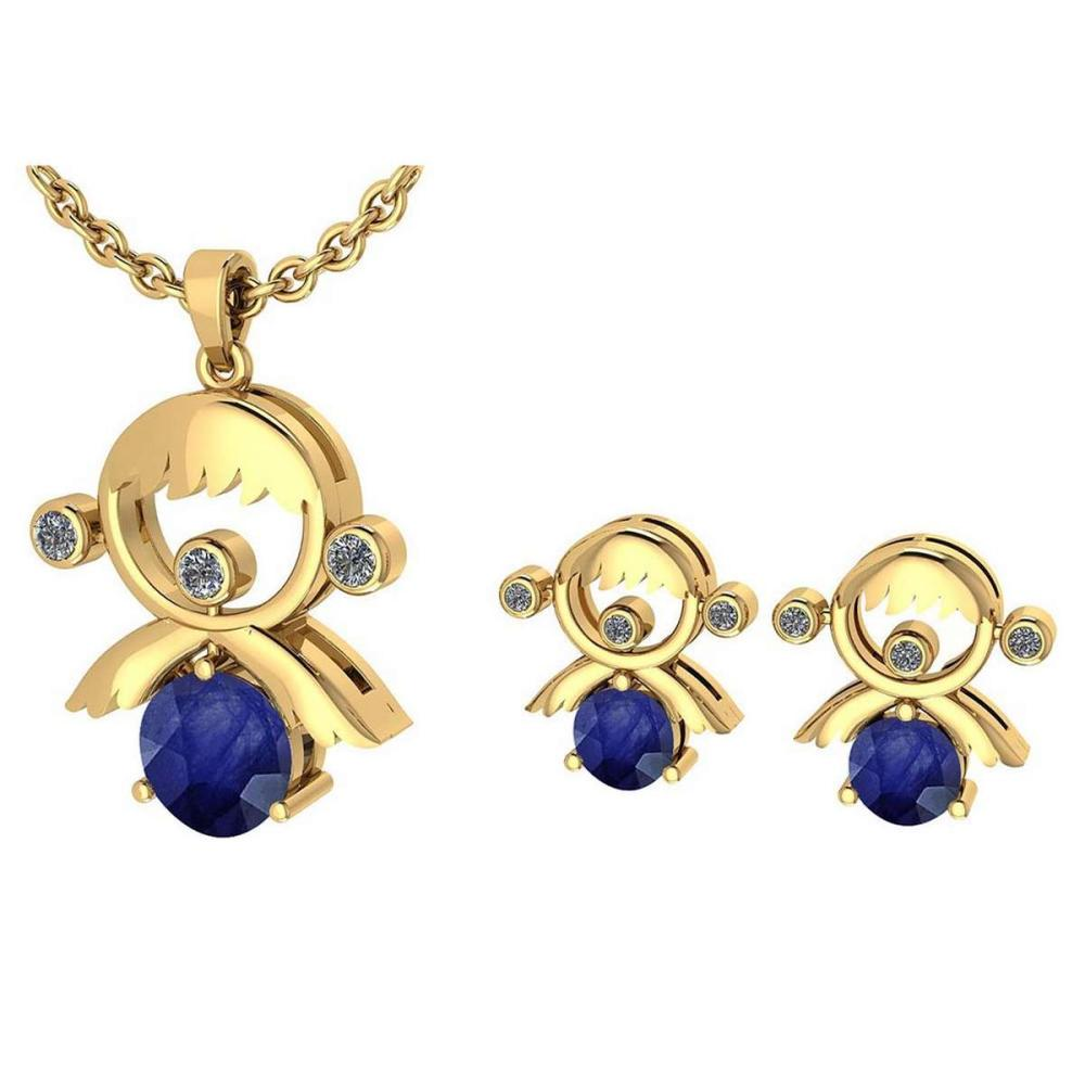 Lot 1111159: Certified 0.93 Ctw Blue Sapphire And Diamond Tiny Angel Necklace + Earrings Jewelry Set 14K Yellow Gold (VS/SI1) #1AC19388