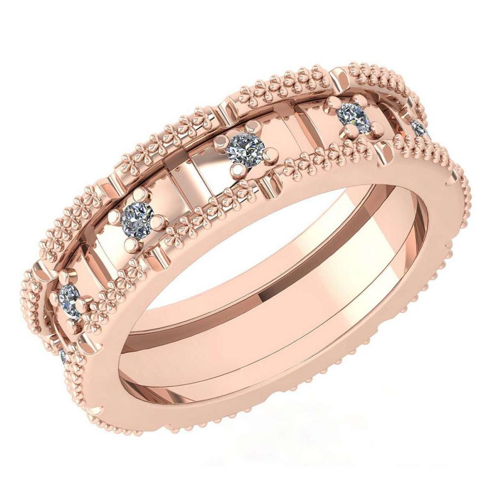 Certified 0.25 Ctw Diamond Wedding Style Halo Band 14K Rose Gold (SI2/I1) #1AC17863