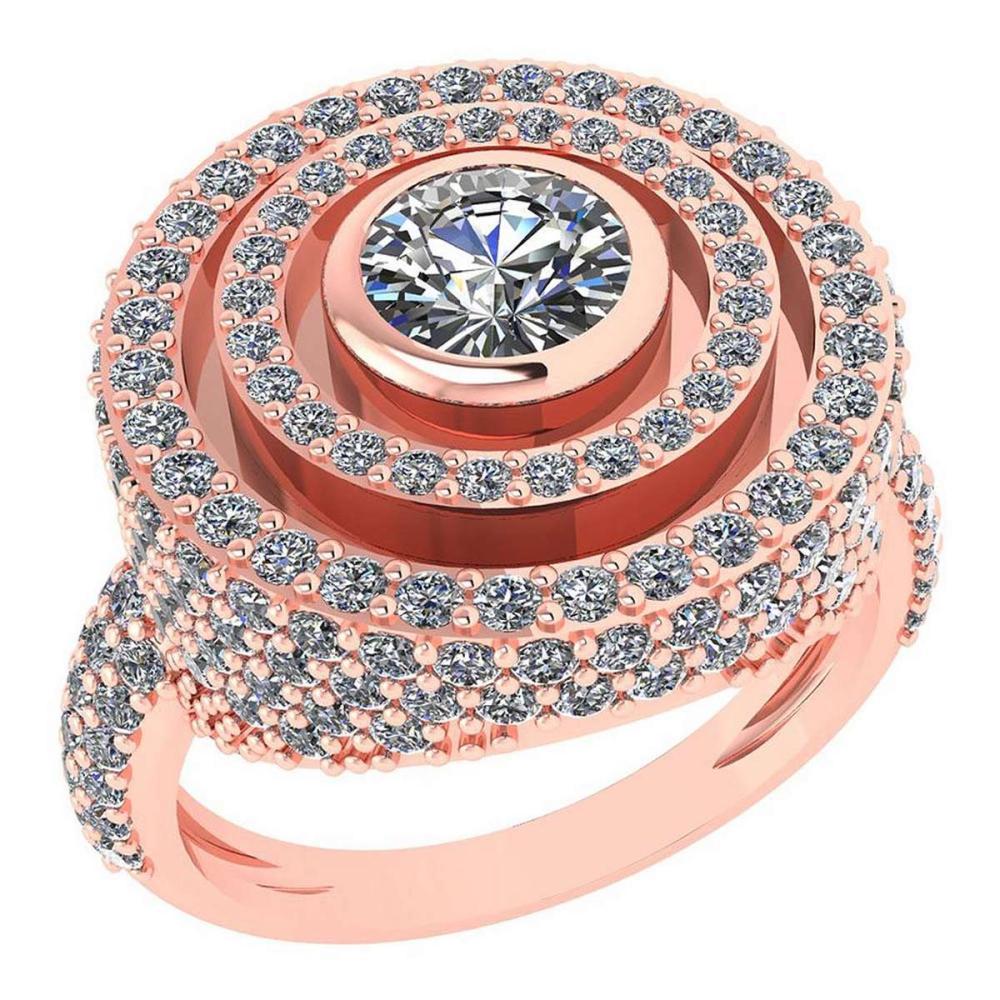 Certified 2.05 Ctw Diamond Wedding/Engagement 14K Rose Gold Halo Ring #1AC16964
