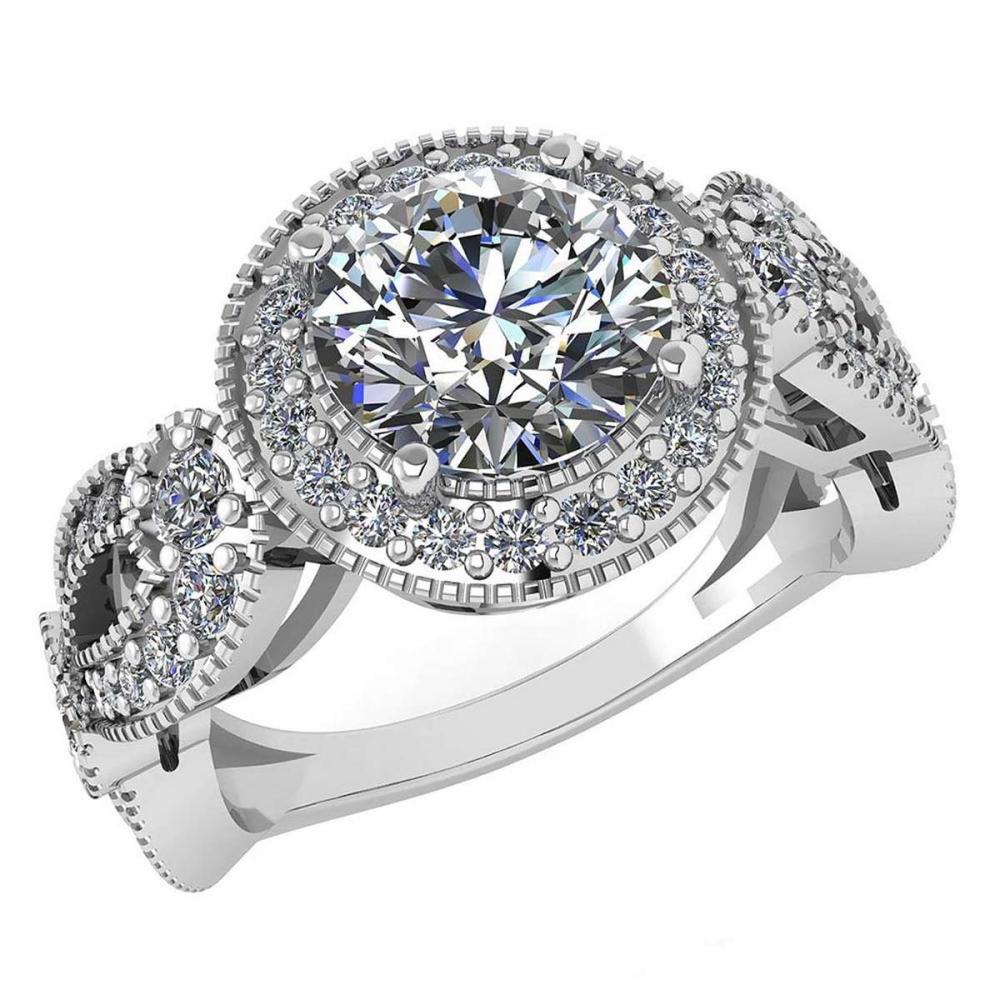 Lot 1111165: Certified 1.83 Ctw Diamond Wedding/Engagement 14K White Gold Halo Ring #1AC17016