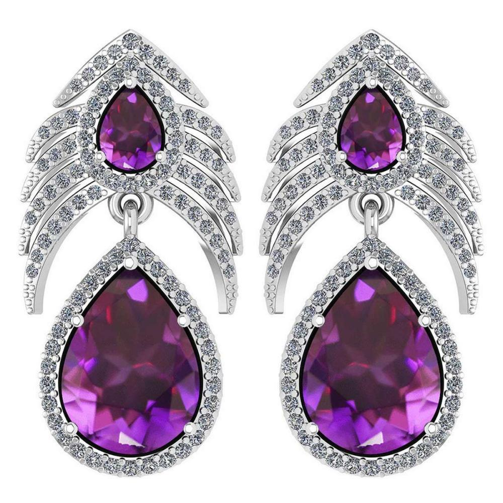 Certified 7.38 Ctw Amethyst And Diamond VS/SI1 Pear Shape 14K White Gold Hangling Stud Earring #1AC20116