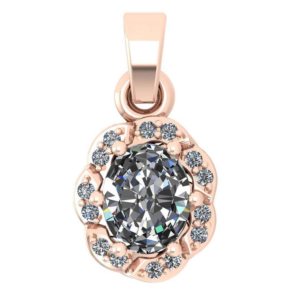 Certified 0.38 Ctw Diamond 14K Rose Gold Simple Pendant (SI2/I1) #1AC17860