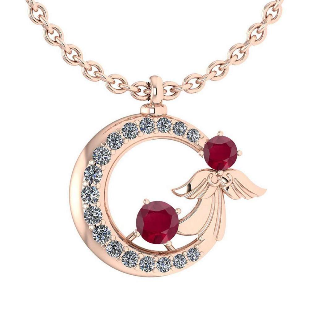Lot 1111169: Certified 1.14 Ctw Ruby And Diamond Tiny Angel Necklace For womens New Expressions love collection 14K Rose Gold (VS/SI1) #1AC19427