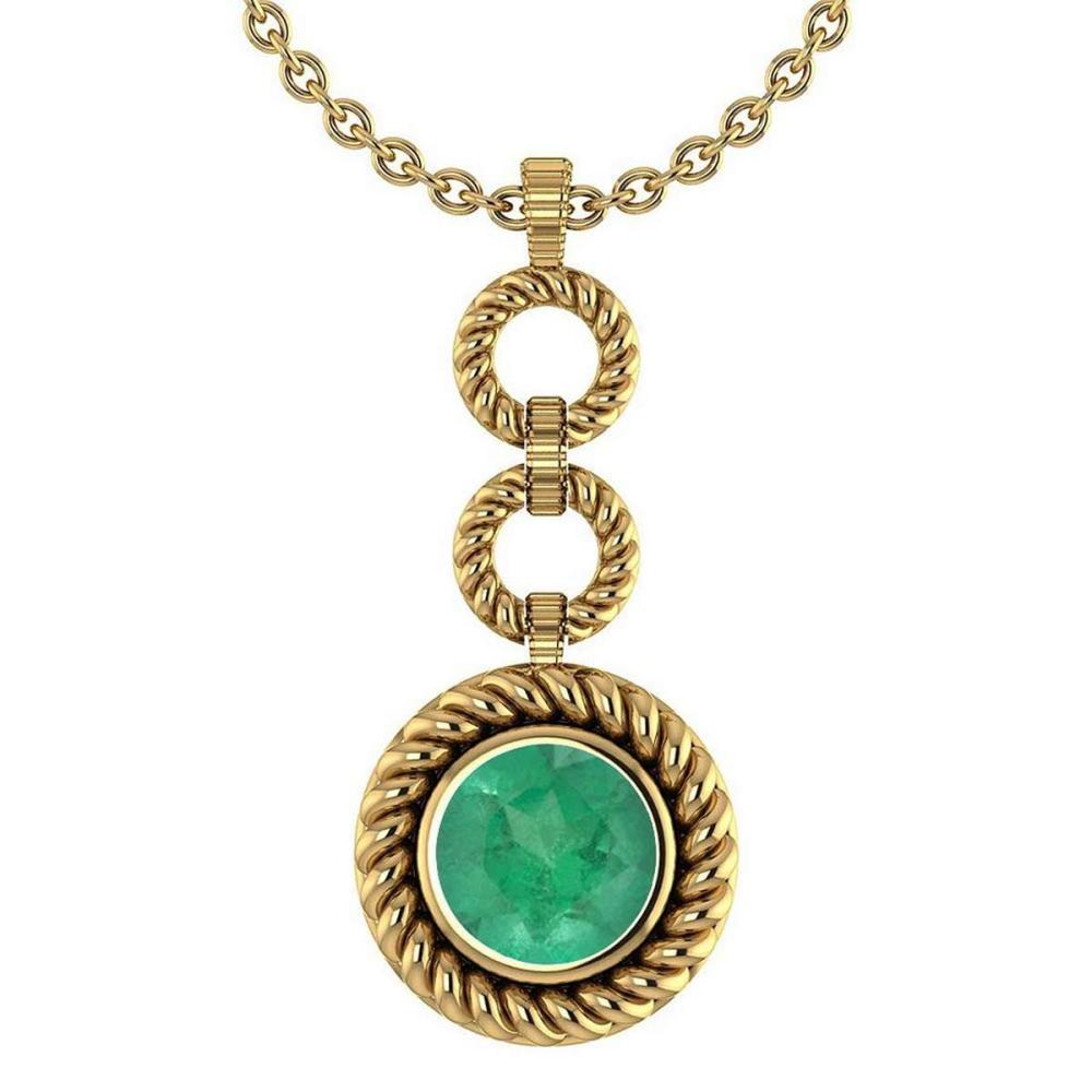 Certified 6.84 Ctw Emerald Necklace For womens New Expressions of Love collection 14K Yellow Gold #1AC17453