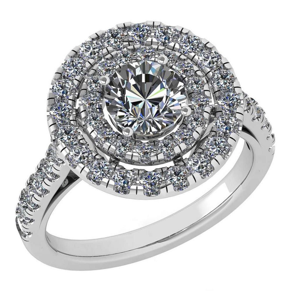 Certified 1.99 Ctw Diamond Wedding/Engagement Style 14K White Gold Halo Ring (SI2/I1) #1AC17886