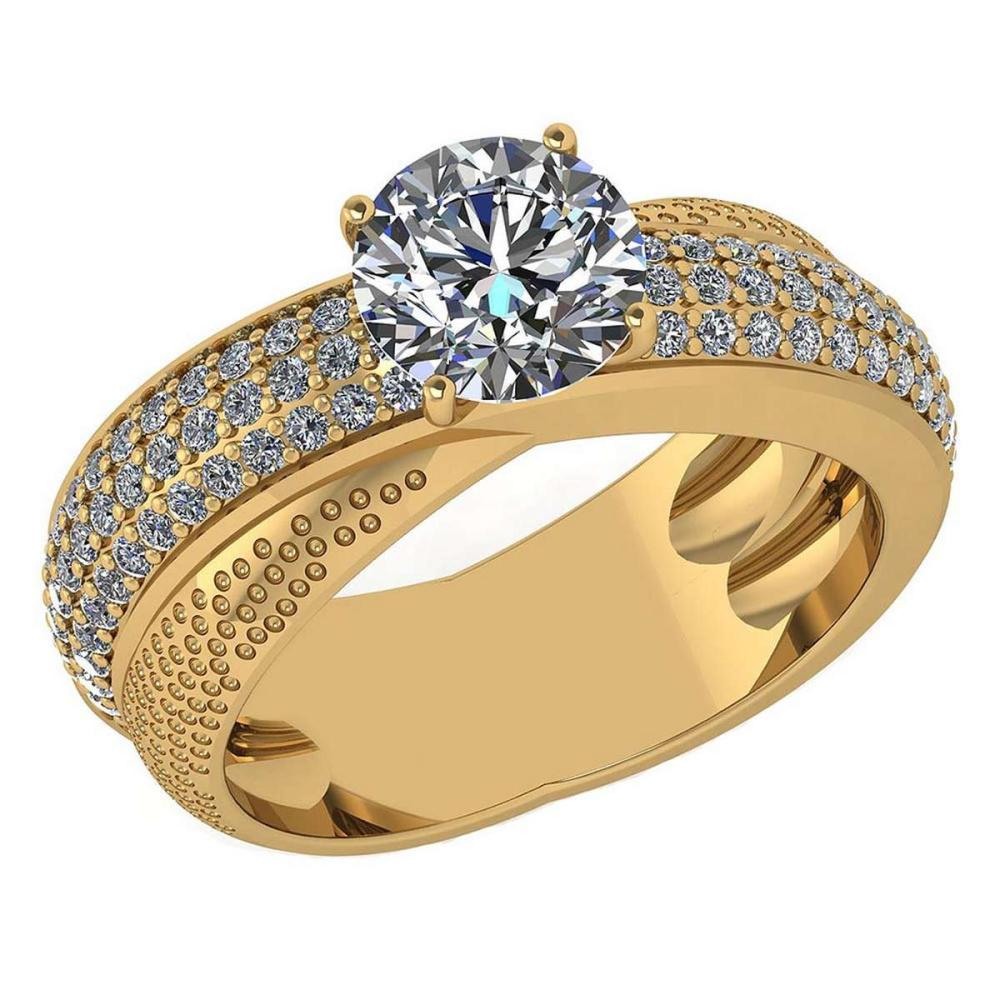 Certified 1.92 Ctw Diamond Engagement /Wedding 14K Yellow Gold Promise Ring #1AC17080