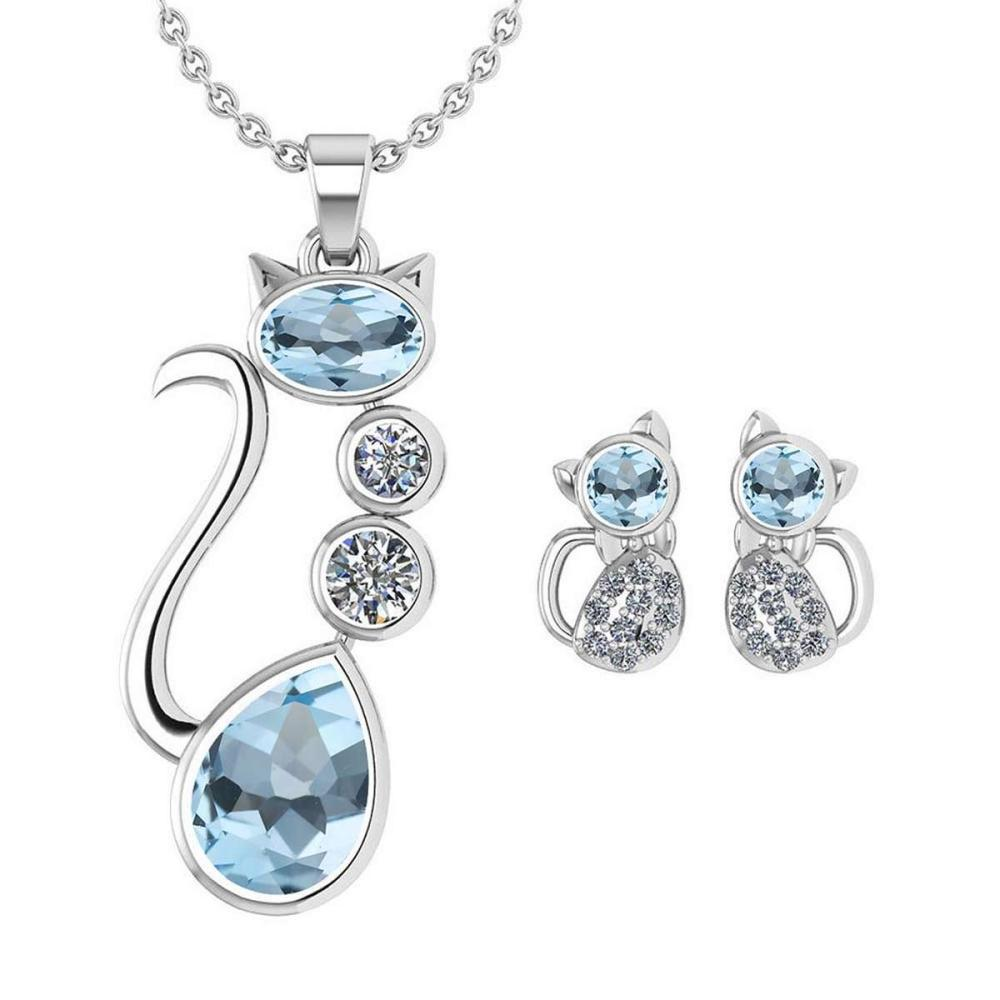 Lot 1111174: Certified 2.37 Ctw Aquamarine And Diamond Cat Necklace + Earrings Jewelry Set For Styles Female 14K White Gold #1AC17702